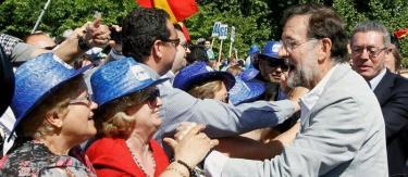 Mariano Rajoy durante el mitin de este domingo en Madrid Rio | EFE