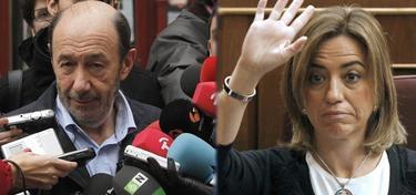 Los candidatos Rubalcaba y Chacón