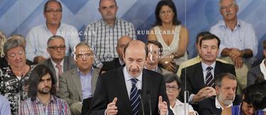 Rubalcaba durante su discurso en Ferraz | EFE