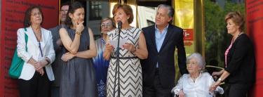 La ministra de Cultura, junto a Caffarel, este sábado en Madrid | EFE