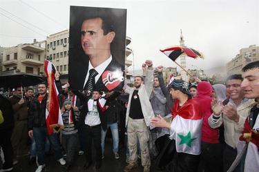 Partidarios de Al Assad se manifiestan en Damasco. | EFE