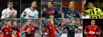 Los diez candidatos al premio de mejor jugador de Europa.