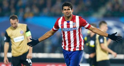 Diego Costa celebra uno de sus dos goles al Austria de Viena. | Cordon Press