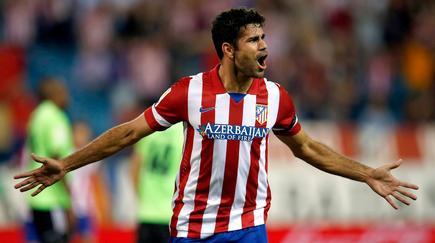 Diego Costa celebra uno de sus dos goles a Osasuna el pasado martes.   Cordon Press