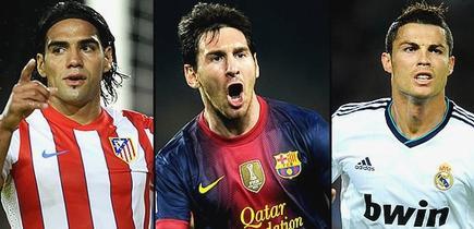 Falcao, Messi y Cristiano, tres de los grandes aspirantes al Balón de Oro.