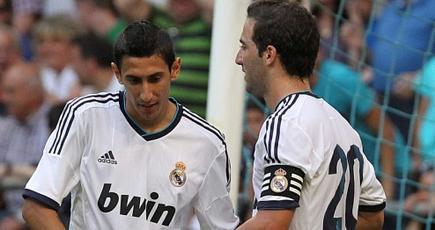 Di María celebra su gol con Higuaín. | EFE