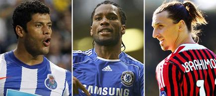 Hulk (i), Drogba (c) y Zlatan Ibrahimovic (d).