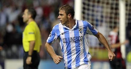 Joaquín celebra su gol al Málaga. | EFE