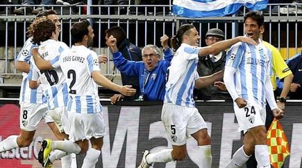 Los jugadores del Málaga celebran un gol en la Champions esta temporada. | Archivo