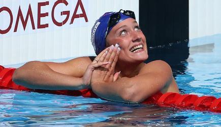 Mireia Belmonte sonríe con su segundo puesto en 400 estilos. | Cordon Press