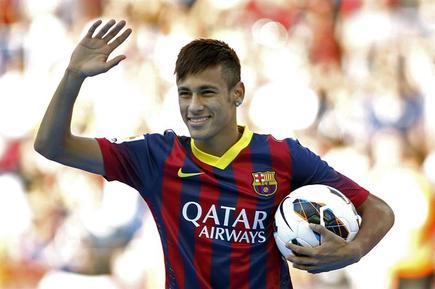Neymar, durante su presentación con el Barcelona. | Archivo