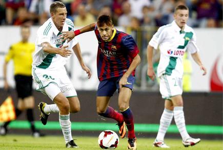 Neymar, durante el amistoso ante el Lechia Gdansk. | Cordon Press