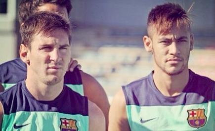 Messi, junto a Neymar en el entrenamiento del Barça. | Foto: Instagram