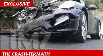 Foto del Porsche tras el accidente (fotografía exclusiva de TMZ)