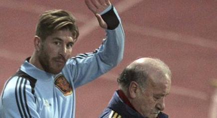 Ramos, durante un entrenamiento con la selección.