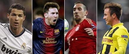 Lewandoski, Cristiano, Messi y Ribery. | Archivo
