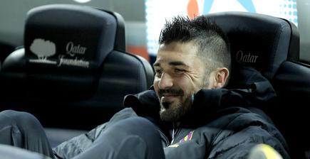 David Villa, en el banquillo ante el Atlético de Madrid. | Cordon Press/Archivo