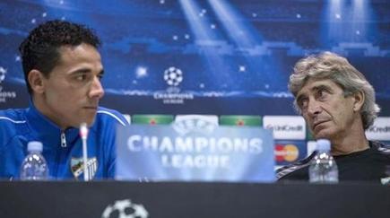Weligton y Manuel Pellegrini, en rueda de prensa antes de un partido de Champions. | Archivo