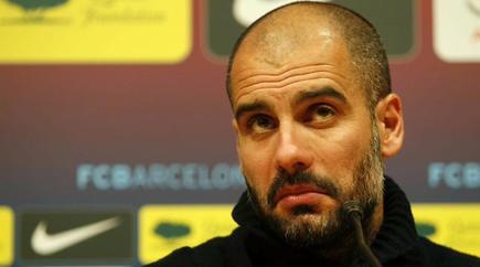 Pep Guardiola, en rueda de prensa previa al clásico.   EFE