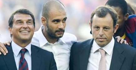Joan Laporta (i), Pep Guardiola (c) y Sandro Rosell. | Archivo