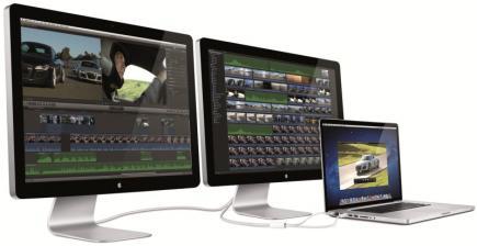 Una configuración de portátil con dos monitores y una sola conexión Thunderbolt. | Apple