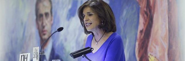 La alcaldesa de Madrid, durante su alocución | EFE