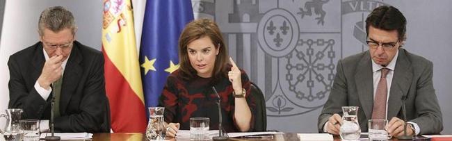 Gallardón, Sáenz de Santamaría y Soria, este viernes tras el Consejo de Ministros | Efe