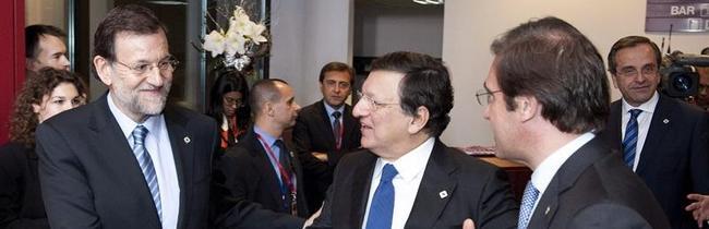 Mariano Rajoy, junto a Durao Barroso   EFE