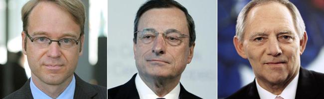 El presidente del Bundesbank, Jens Weidmann, el del BCE, Mario Draghi, y el ministro de Finanzas alemán, Wolfgang Schäuble.