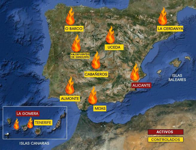 mapa dos incendios Dos fallecidos en las tareas de extinción del incendio de Alicante  mapa dos incendios