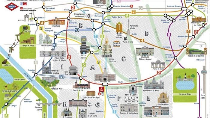 Centro De Madrid Mapa.Metro De Madrid Lanza Un Plano Con Los Monumentos De La