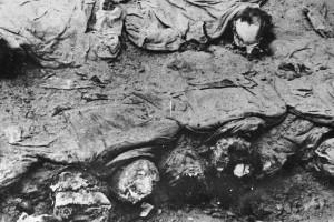 Cadáveres exhumados del bosque de Katyn.