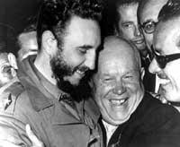 Fidel Castro y Nikita Jruschev.