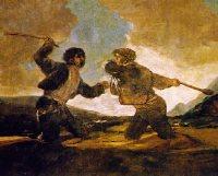 Goya: RIÑA A GARROTAZOS.