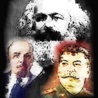 Marx, Lenin y Stalin.