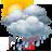 Cielos nubosos con chubascos tormentosos y granizo