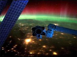 La aurora boreal desde el espacio