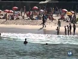 Tres pingüinos en la playa de Río de Janeiro