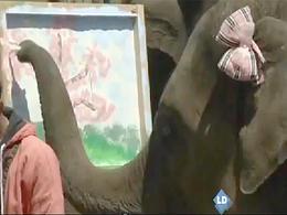 Un elefante que pinta cuadros